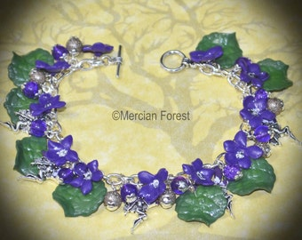 Wood Violet Flower Fairy Bracelet - Handmade Clay Flowers, Inspired by  Summer, and the Fae or Sidhe