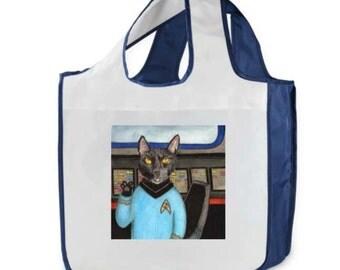 Reusable Shopping Bag, Star Trek Cat, Spock, Live long and Prosper,  farmer's market, gift, tote, bag, cats, eco friendly
