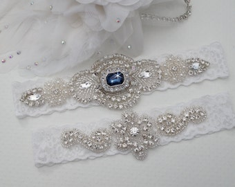 Wedding Garter Set, Bridal Garter Set, Vintage Wedding, Something Blue,  Crystal Garter Set  - Style 600