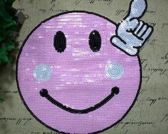 Large pink smile sequins patch applique vintage embroidered patch T-shirt or Coat decoration patch