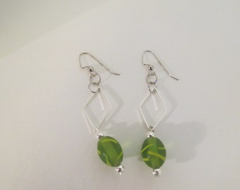Green Geometric Dangle Drop Earring