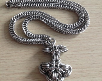 Chunky Chainmaille Pendant - Big Mjölnir Pendant on Chainmaille Necklace - Norse Symbol in Chainmaille - Thor's Hammer
