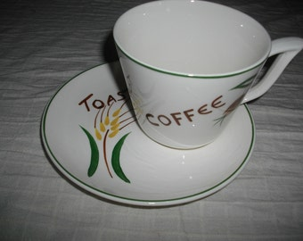 Vintage Coffee Cup with Toast plate