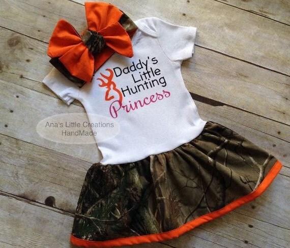 Camo Real Tree Body Suit Dress, RealTree Baby Dress Orange Trim and Self Tied Headwrap/Headband Orange