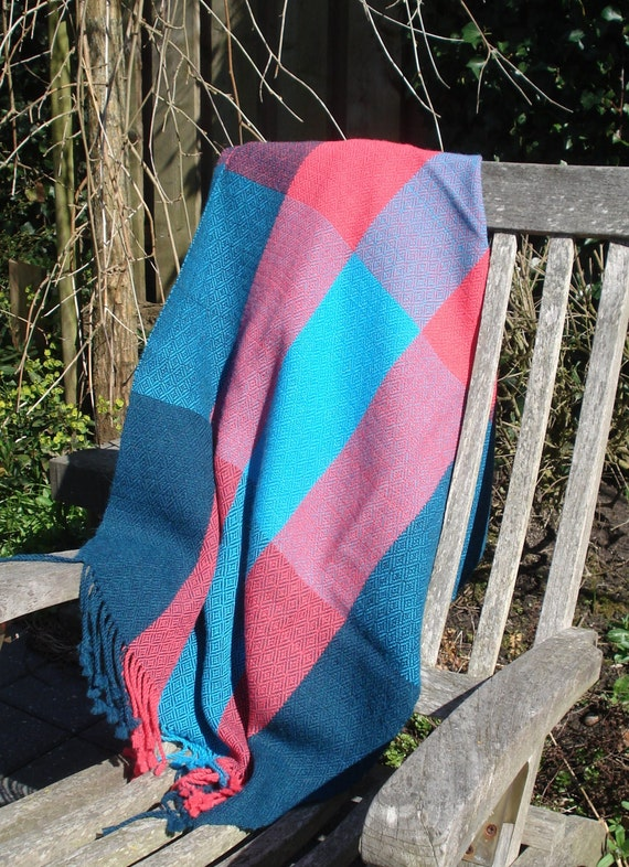 Stola, 100% Alpaca Wool Stola or Shawl, Handwoven, colors pink, turquoise and petrol