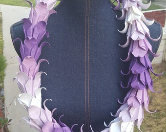 Purple and White Origami Lei
