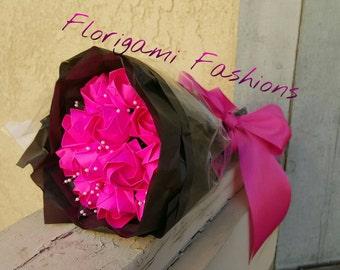 One Dozen Pink Origami Roses - Origami Flowers - Paper Flowers - First Anniversary - Paper Anniversary - Floral Sprays - Unique Gift