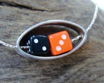 Sterling Silver Orange Black Dice Necklace Lucky Las Vegas Dice Delicate Silver Chain Kinetic Movement Gambler Dice Games Pendant #077