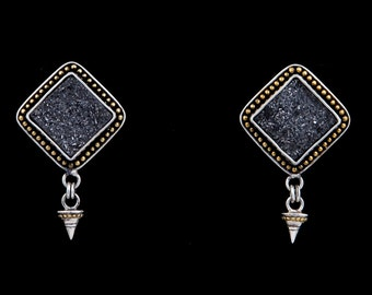 Pyrite Fire 2 - Earrings - Sterling Silver and 24K Gold plating - Drusy Pyrite