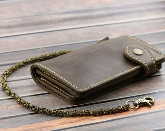 Long leather wallet with chain Biker wallet card holder Leather wallet for men Trucker wallet Leather snap wallet Business card case leather