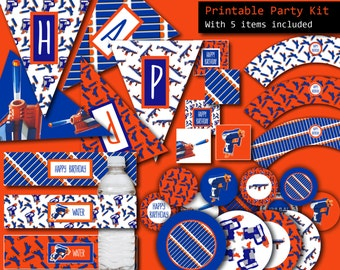 Nerf Party, Nerf Gun Party - 5 ITEMS Printable Party Package, Nerf Party Favors, Nerf Party Printable, Nerf Banner, Nerf Cake Topper