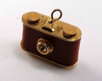 Vintage Camera Charm Pendant Gold Plated with Faux Leather Covering And Rhinestone