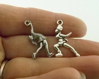 7 Antique Silver Ice Skater Charms