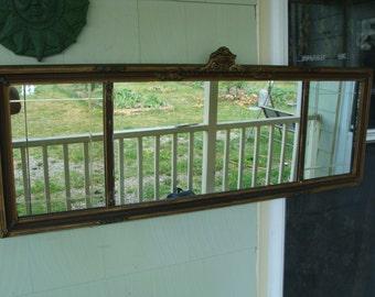 Vintage Antique Gesso Barbola Victorian Mantle Buffet Billiard Etched Mirror Floral Framed Long Mirror
