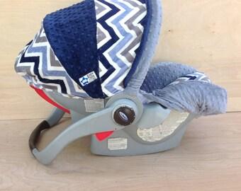 Infant Car Seat Cover- Navy/ Denim Chevron