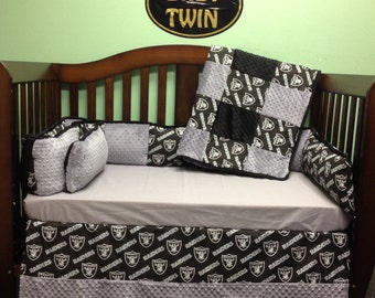 4 Pc Standard Crib Bedding Set- NFL Raiders
