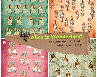 Alice in Wonderland Digital Papers, Alice digital paper, Instant Download Alice paper pack for Birthday Baby Shower Party Decoration, # 106