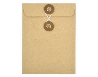 KRAFT PAPER ENVELOPES (Set of 5) - Kraft Envelope with String and Button Closure  (7.5cm x 10cm)