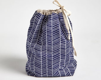 Drawstring Bag with Waterproof Lining, Beach Wet Bag in Navy Herringbone by Made on Main VT