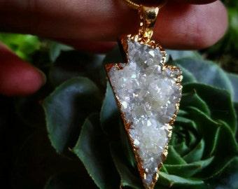 Druzy agate arrowhead geode necklace
