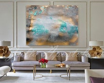 Gold and Turquoise Abstract Painting, Canvas Art, Watercolor Print, Contemporary Wall Art, Modern Art by JuliaApostolova, ''Aureate Beach''