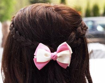 Pink Cream Small Bow Hair Clip