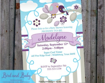 Bird Baby Shower Invitation Purple and Teal or Aqua blue Mom and baby birdie, printable Invitations Digital