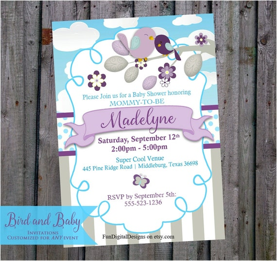 bird baby shower invitation purple and teal or aqua blue mom and baby