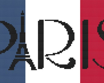 Paris Eiffel Tower Tour Eiffel Cross Stitch Pattern French Flag Drapeau Francais