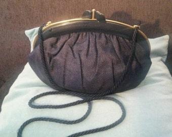 Vintage 1980's woven rattan cane navy blue cross body clutch bag