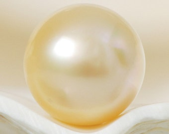 SOUTH SEA PEARL Golden Champagne 9.91 mm Round Indonesia 1.41 g un-drilled