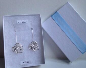 STERLING SILVER Wire Heart Earrings