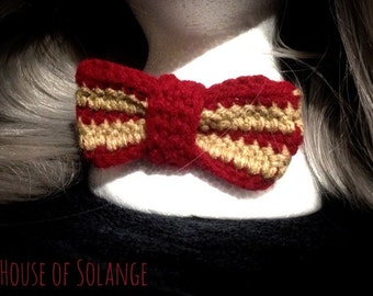 Gryffindor inspired bow tie, Red and Gold bow tie, Crochet bow tie, adjustable bow tie