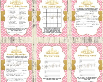INSTANT DOWNLOAD - Set of 6 Printable Baby Shower Games - Matching Royal Baby Shower Invitation - Instant Download