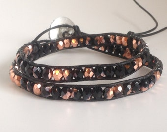 Black and copper bohemian leather double wrap bracelet