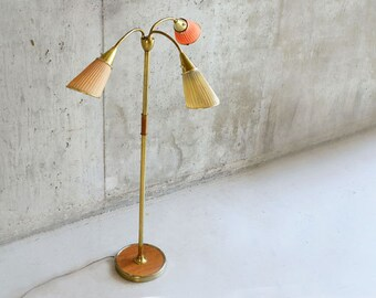Vintage 1960's Belgian 3 prong standard lamp with cloth shades