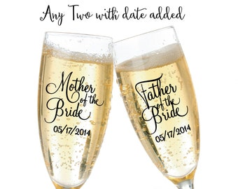 Wedding Party Champagne Flute Vinyl Decals with date added - choose any two