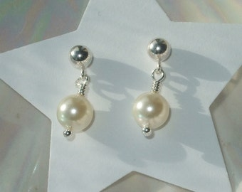 Swarovski pearl sterling silver earrings