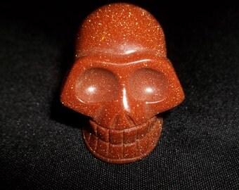 Sparkling Goldstone Crystal Skull