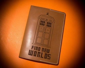 "Leather passport cover ""Tardis"", from ""Doctor Who"" universe"