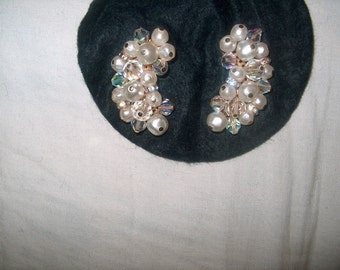 Laguna Signed, Clipback Earrings, Vintage Costume Jewelry, Crystal Glass & Pearl, WAS 15.00 - 50% = 7.50