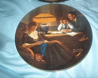 Vintage Norman Rockwell Plate, Fathers Help, 3rd Light Campaign Series, Knowles, WAS 10.00 - 20% = 8.00