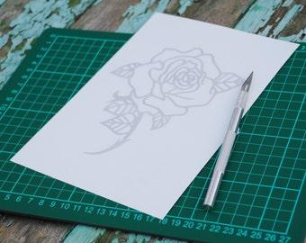 Papercut template bundle – rose papercut template – butterfly papercut template –personal use templates –DIY paper cut – instant download