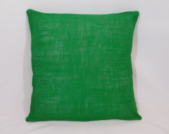 Custom made rustic country emerald green burlap pillow cover/sham. Multiple sizes to choose from.