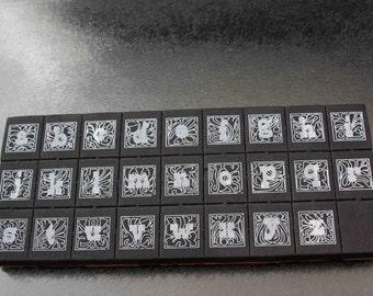 Alphabet Set - Lower Case Ornate Design Foam Backed Rubber Stamp Set of 26 stamps