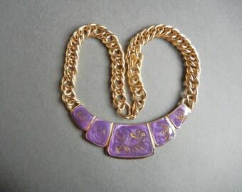 Vintage purple enamel collar necklace, vintage purple enamel necklace, vintage gold swirl enamel necklace, gold purple enamel necklace