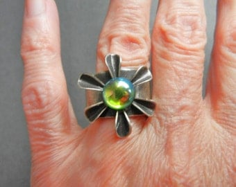 Ziggy Originals NYC Pewter Ring, Pewter Ring with greenish opalescent stone in center