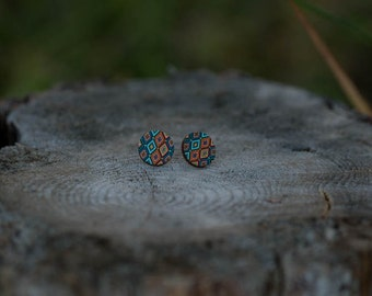 Multi-Coloured Aztec Stud Earrings