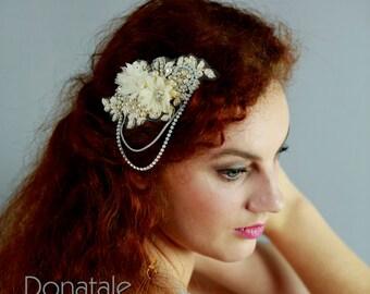 Bridal headpiece- Opal  Champagne Wedding hair comb - Bridal hair piece-Wedding hair piece- Wedding headpiece- Bridal comb - KIM