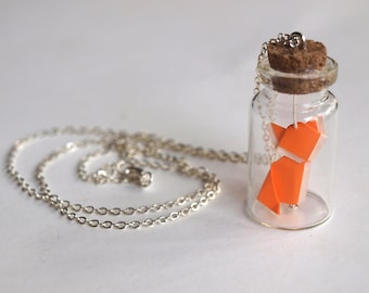 Personalized necklace - Little origami fox bottle